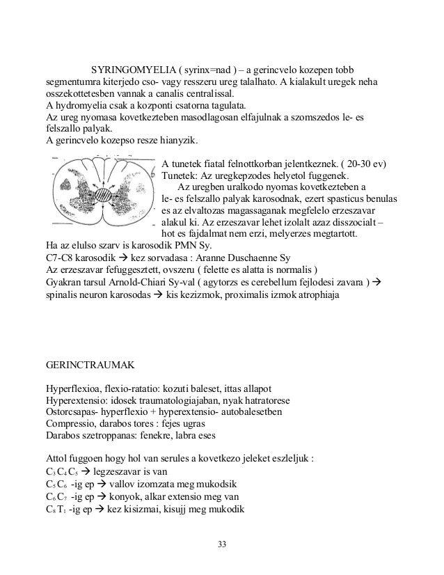 SYRINGOMYELIA ( syrinx=nad ) – a gerincvelo kozepen tobbsegmentumra kiterjedo cso- vagy resszeru ureg talalhato. A kialaku...
