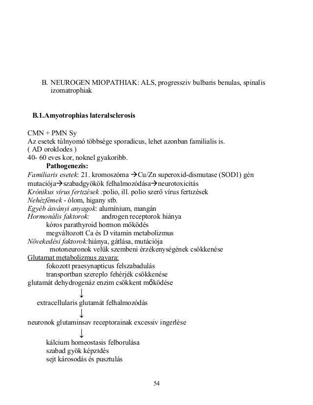 B. NEUROGEN MIOPATHIAK: ALS, progressziv bulbaris benulas, spinalisizomatrophiakB.1.Amyotrophias lateralsclerosisCMN + PMN...
