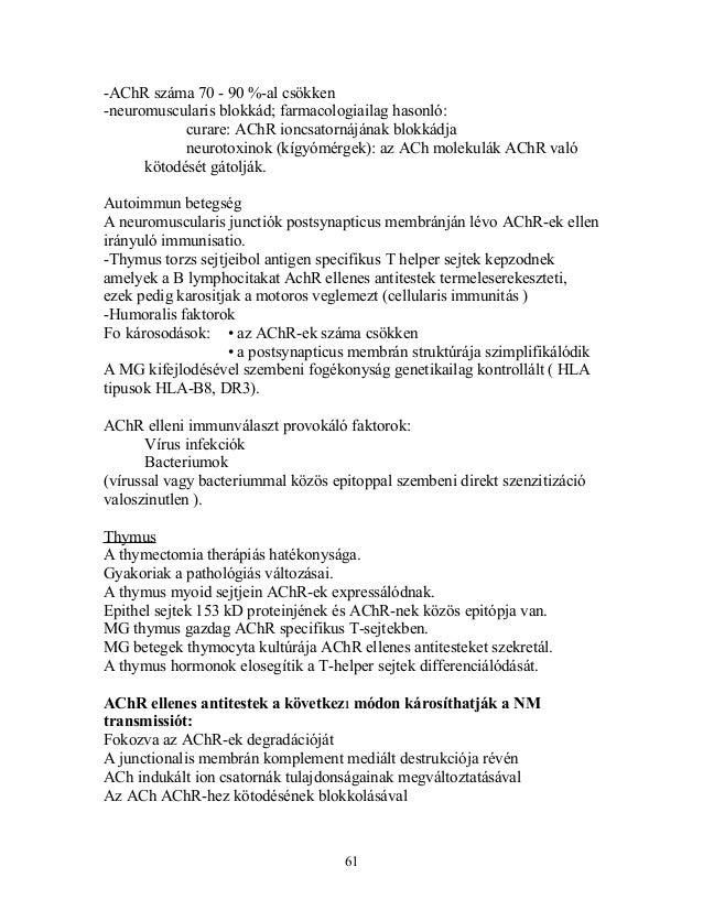 -AChR száma 70 - 90 %-al csökken-neuromuscularis blokkád; farmacologiailag hasonló:curare: AChR ioncsatornájának blokkádja...