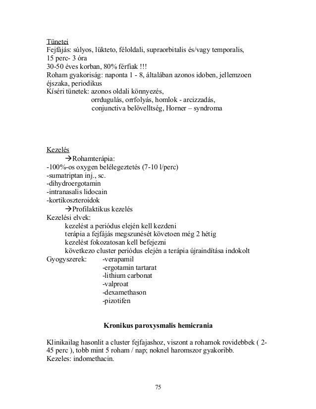 TüneteiFejfájás: súlyos, lükteto, féloldali, supraorbitalis és/vagy temporalis,15 perc- 3 óra30-50 éves korban, 80% férfia...
