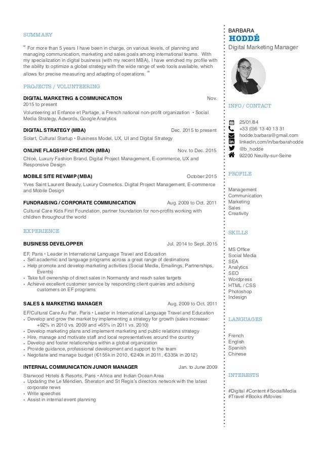 cv b hodd u00e9 digital marketing manager