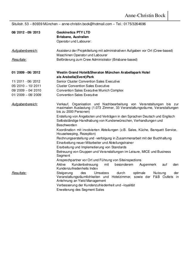 Anne-Christin Bock Situlistr. 53 – 80939 München – anne-christin.bock@hotmail.com – Tel.: 0175/3264696 08/ 2012 - 09/ 2013...