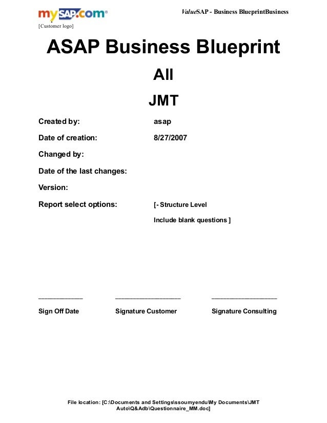 7358948 questionnaire mm valuesap business blueprintbusiness blueprint customer logo asap business blueprint all jmt created by malvernweather Image collections