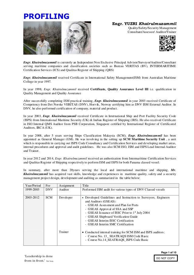 Engr. Khairulmuzammil- ISM ISPS Experience Profiling_05.08.2015
