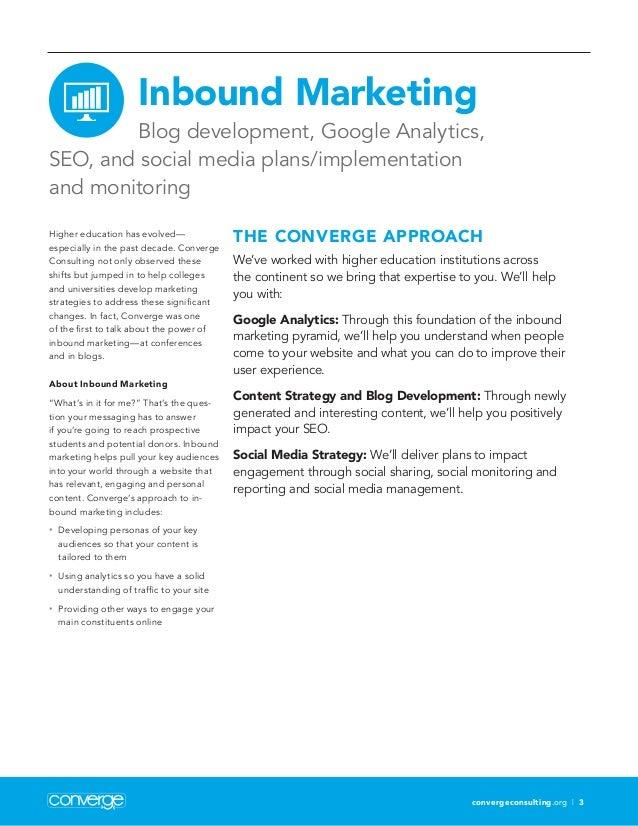 convergeconsulting.org | 3 Inbound Marketing Blog development, Google Analytics, SEO, and social media plans/implementatio...