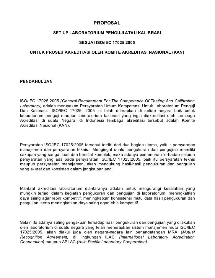 PROPOSAL                 SET UP LABORATORIUM PENGUJI ATAU KALIBRASI                              SESUAI ISO/IEC 17025:2005...