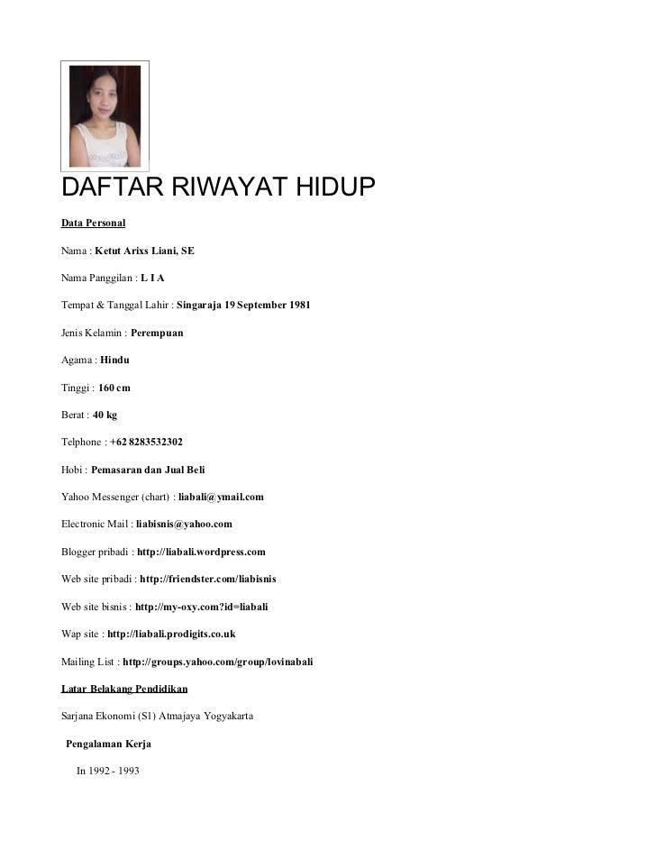 Daftar Riwayat Hidup Lia