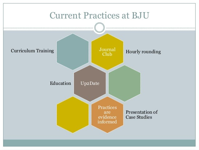 Implementing evidence based practice at bju 7 current practices at bju journal club hourly rounding up2dateeducation practices are evidence informed presentation of fandeluxe Gallery