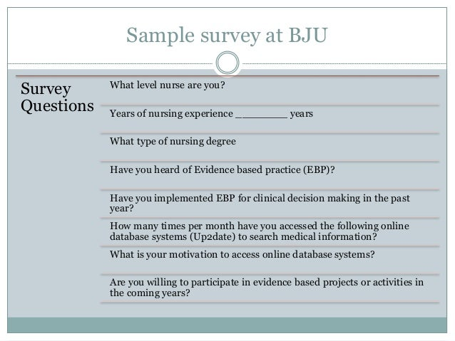 Implementing Evidence Based Practice At Bju