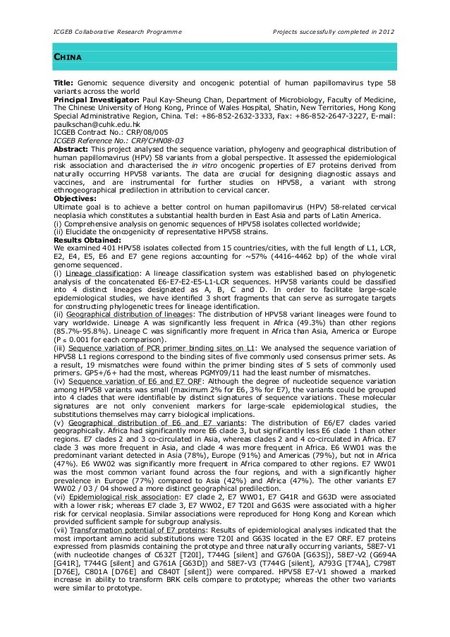 ICGEB Collaborative Research Programme Projects successfully completed in 2012 CHINA Title: Genomic sequence diversity and...