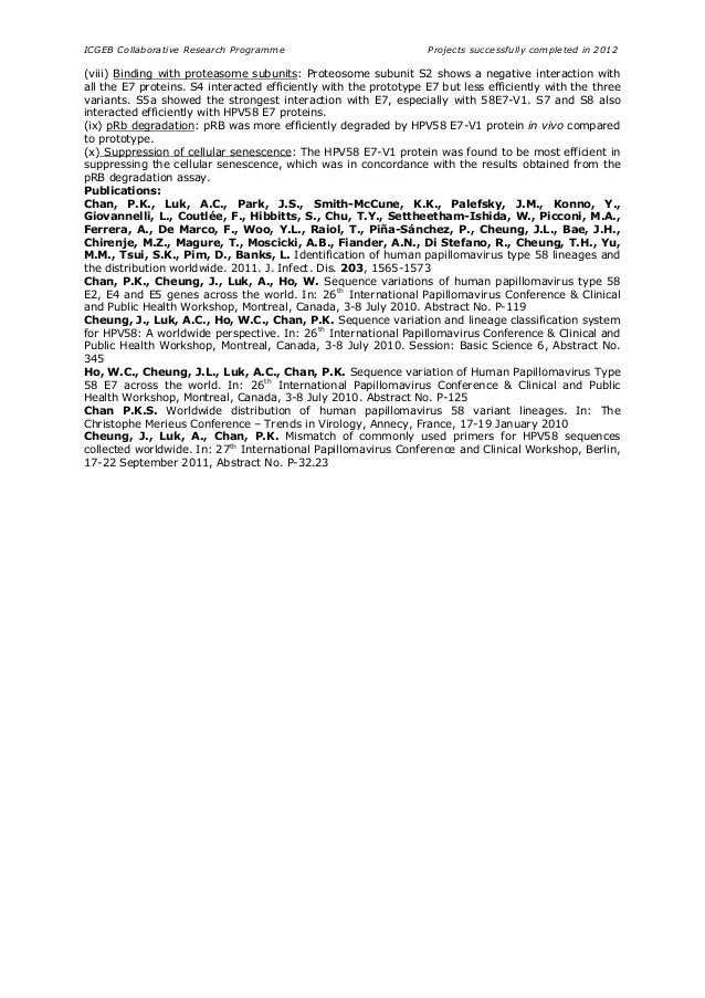 ICGEB Collaborative Research Programme Projects successfully completed in 2012 (viii) Binding with proteasome subunits: Pr...