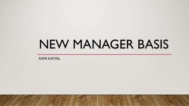 NEW MANAGER BASIS R.K