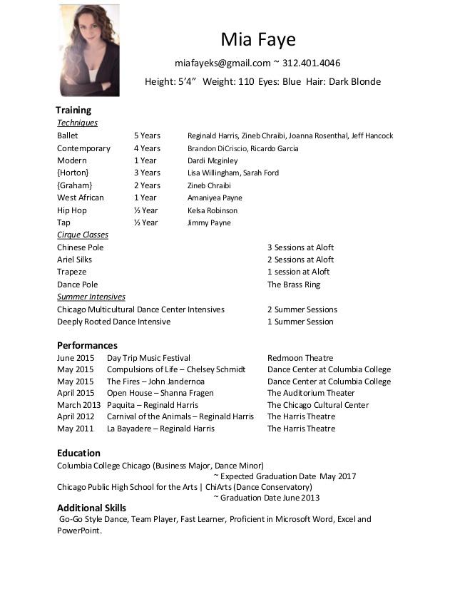 free dancer resume example resumecompanioncom. tags dance ...