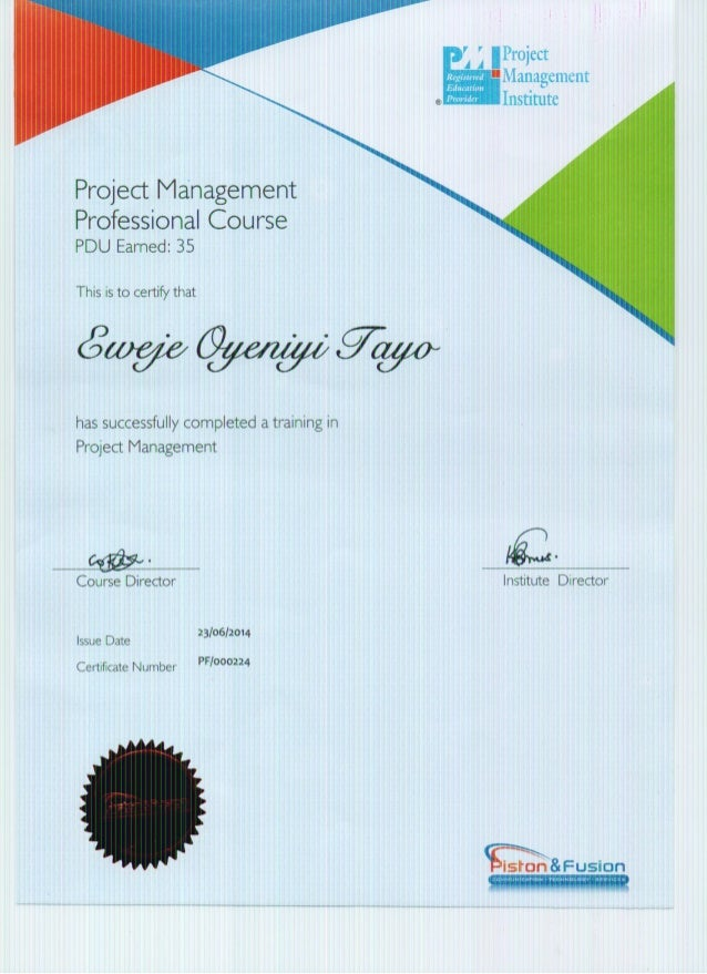Project Management Certificate for Participation