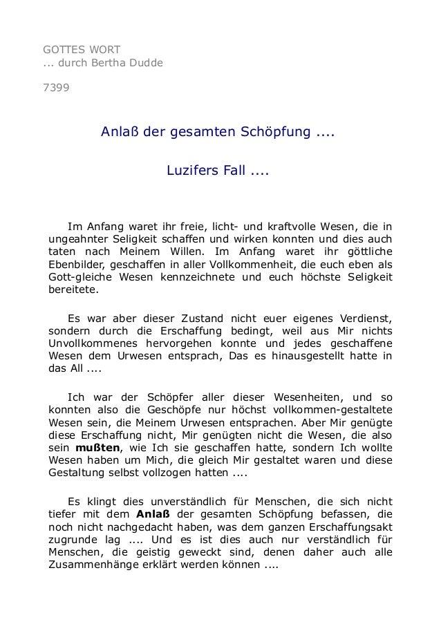 GOTTES WORT  ... durch Bertha Dudde  7399  Anlaß der gesamten Schöpfung ....  Luzifers Fall ....  Im Anfang waret ihr frei...