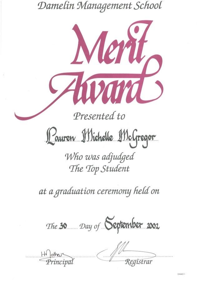 Damelin Management School Certificate of Merit – Merit Certificate Comments