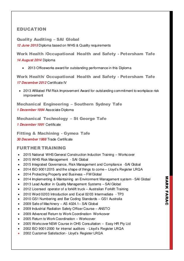 mark farac resume 2016