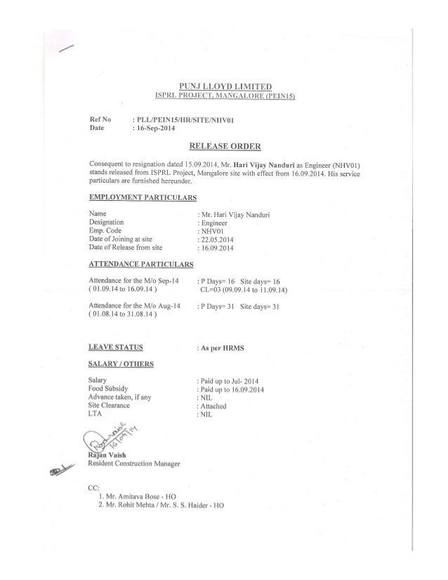 Exdperience letter Punj Lloyd ltd