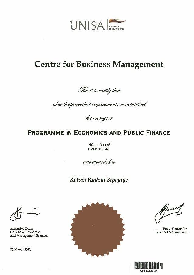 Economics And Public Finance Certificate