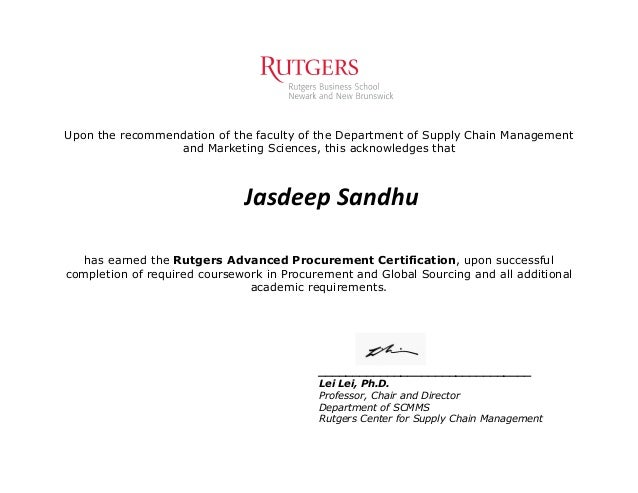 Jasdeep Sandhu - Procurement Certification