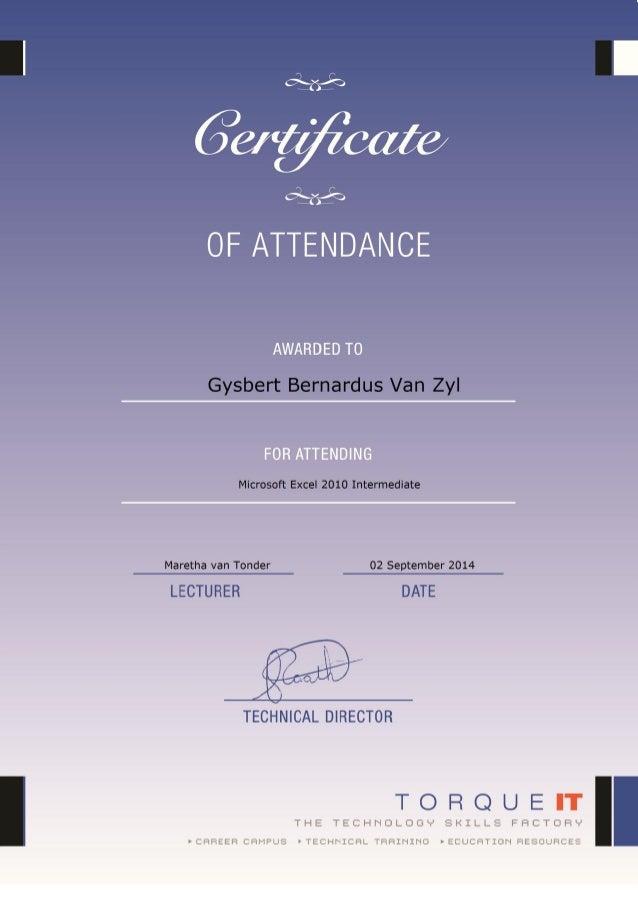 Certificate Microsoft Excel Intermediate