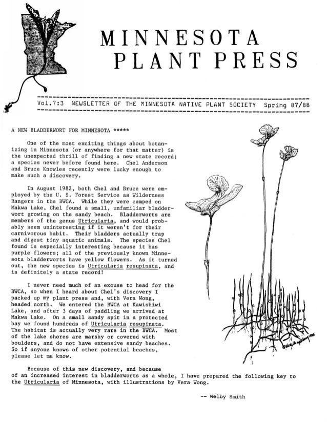 Spring 1988 Minnesota Plant Press