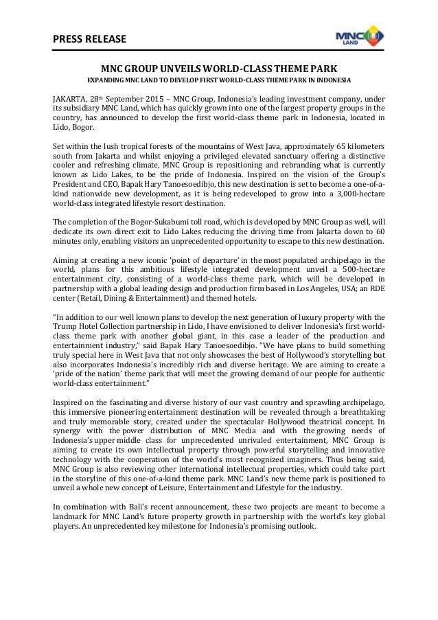 PRESS RELEASE MNC GROUP UNVEILS WORLD-CLASS THEME PARK EXPANDING MNC LAND TO DEVELOP FIRST WORLD-CLASS THEME PARK IN INDON...