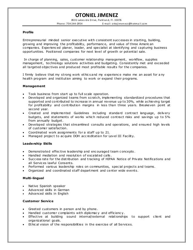otoniel jimenez executive resume 2016