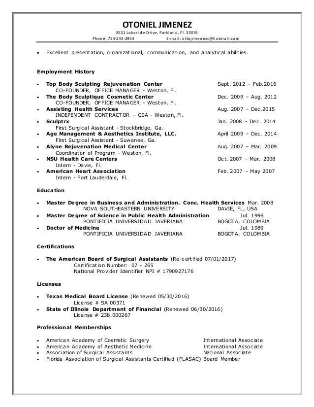 otoniel jimenez executive resume 2016
