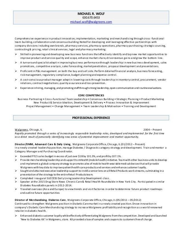 Michael WOLF Resume 102015 – Walgreens Resume
