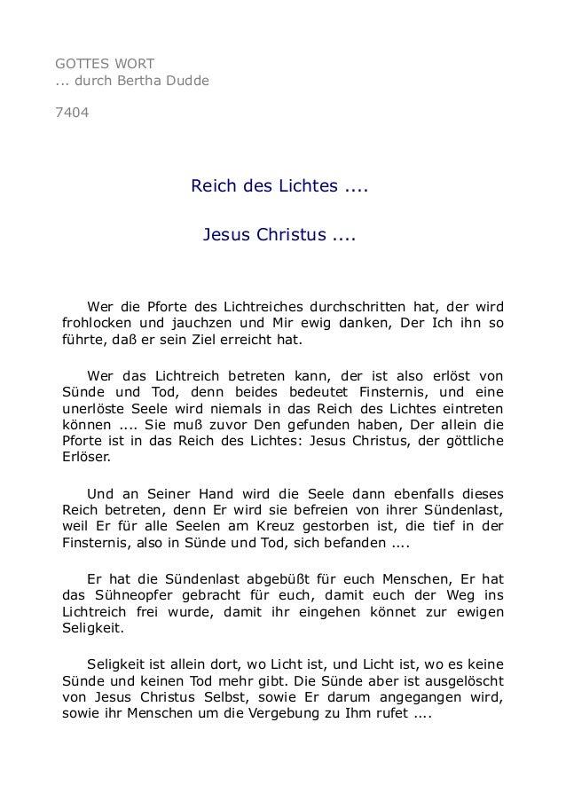GOTTES WORT  ... durch Bertha Dudde  7404  Reich des Lichtes ....  Jesus Christus ....  Wer die Pforte des Lichtreiches du...