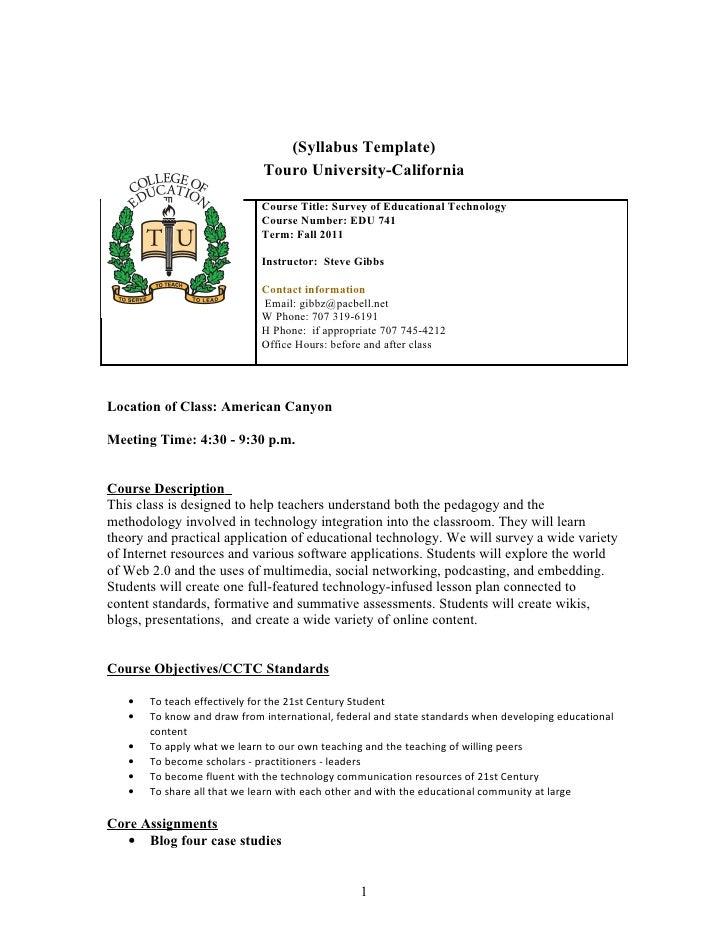(Syllabus Template)                             Touro University-California                             Course Title: Surv...