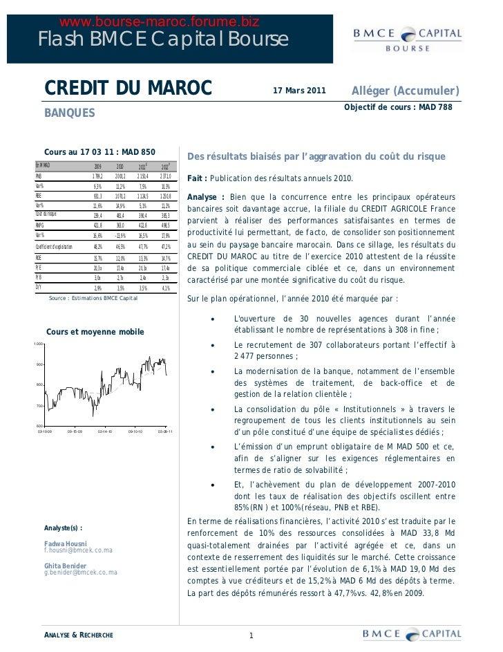 www.bourse-maroc.forume.biz  Flash BMCE Capital Bourse         CREDIT DU MAROC                                            ...