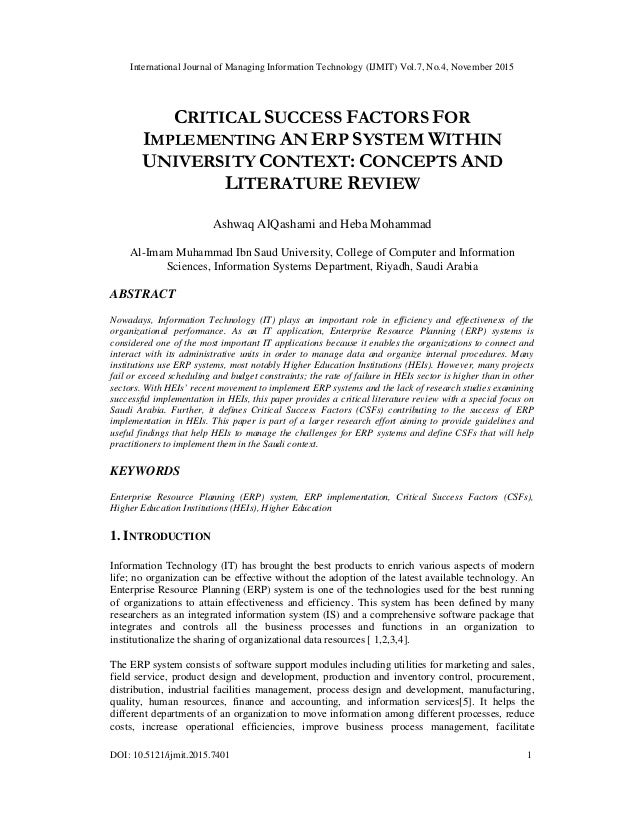 critical success factors for erp implementation The critical success factors for erp implementation: an organizational fit perspective information & management 40 (2002) 25-40 2005 04 28 yunmi lee.