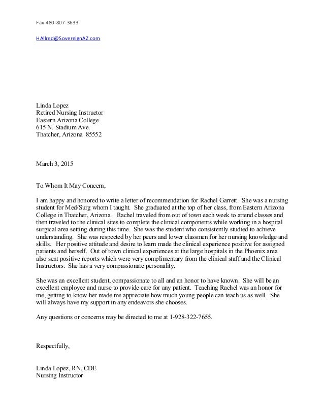 MARCH RESUME LETTER OF RECOMMENDATION – Nursing Recommendation Letter