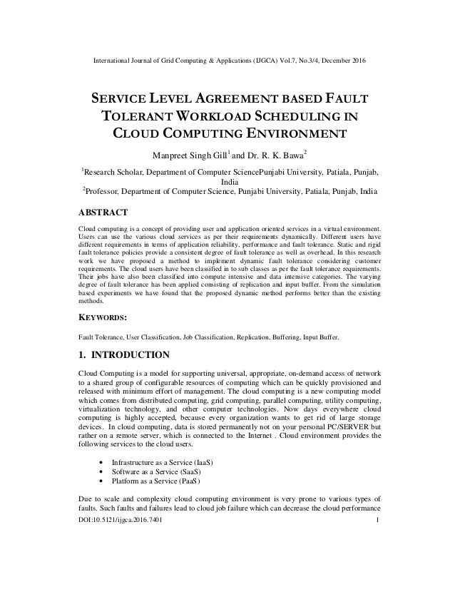 Service Level Agreement Based Fault Tolerant Workload Scheduling In C