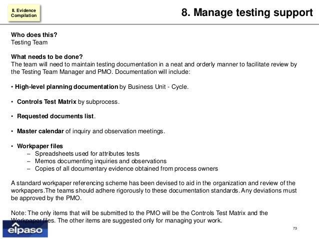 evidence compilation 73 - Sox Process Documentation
