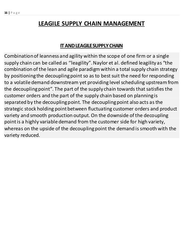 Global Supply Chain Management Business Essay