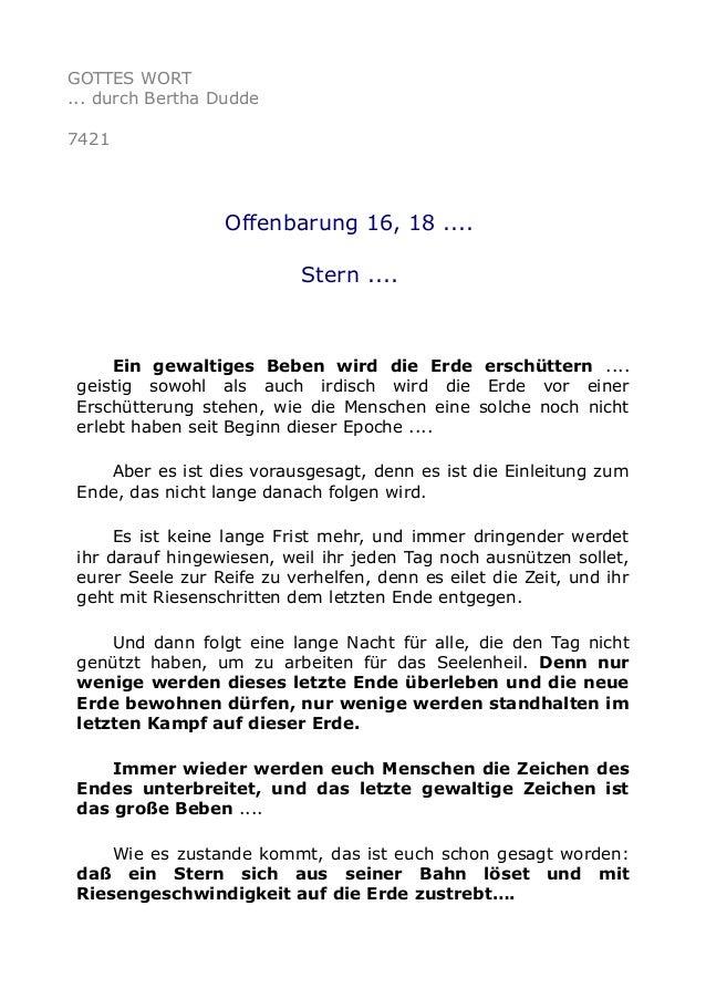 GOTTES WORT  ... durch Bertha Dudde  7421  Offenbarung 16, 18 ....  Stern ....  Ein gewaltiges Beben wird die Erde erschüt...