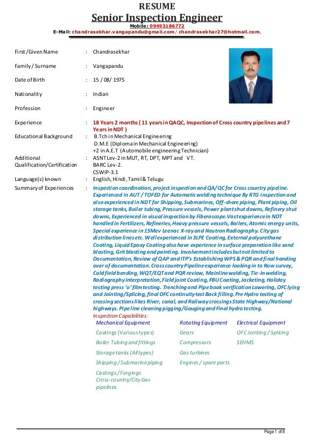resume senior inspection engineer mobile 09493186772 e mail chandrasekharvangapandugmail - Boiler Engineer Sample Resume