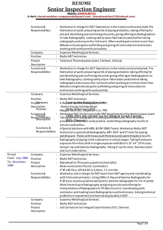 resume senior inspection engineer - Piping Field Engineer Sample Resume