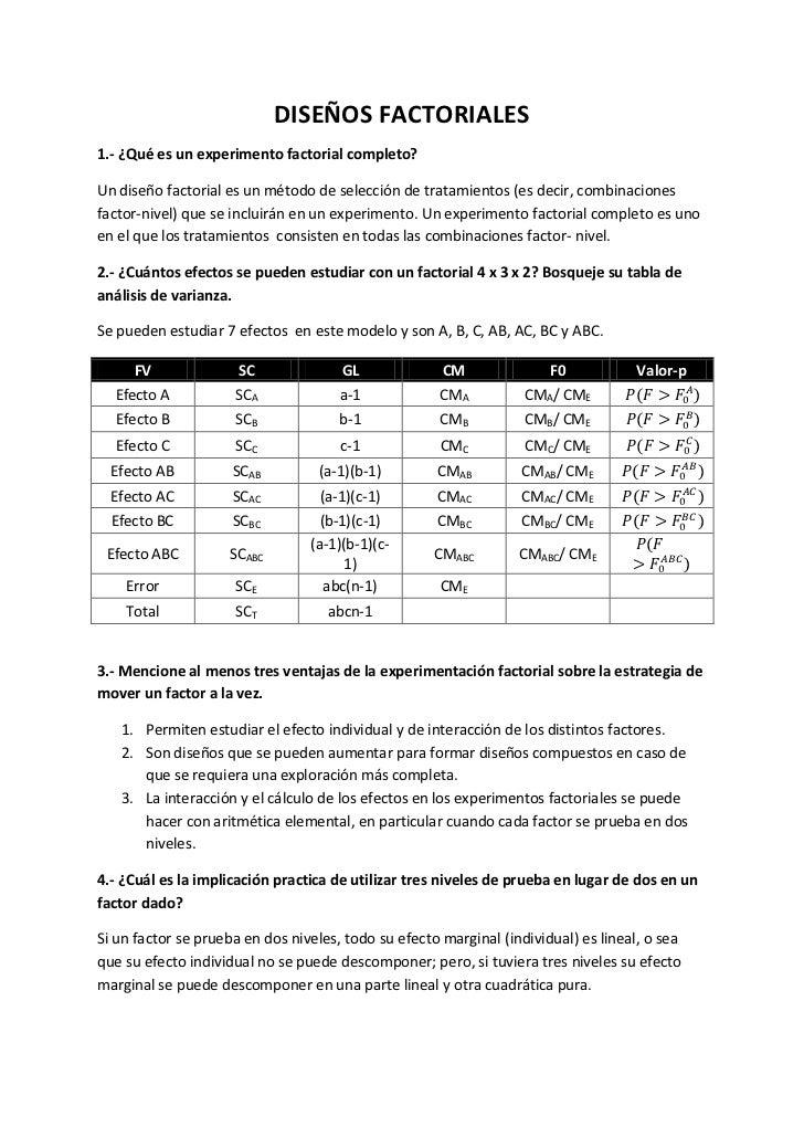 DISEÑOS FACTORIALES1.- ¿Qué es un experimento factorial completo?Un diseño factorial es un método de selección de tratamie...