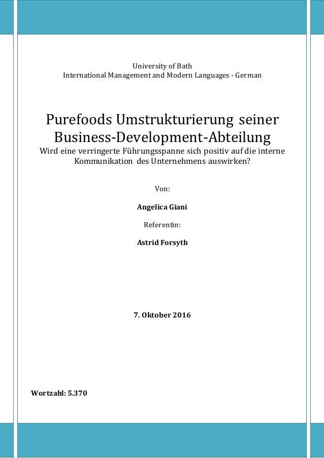 University of Bath International Management and Modern Languages - German Purefoods Umstrukturierung seiner Business-Devel...