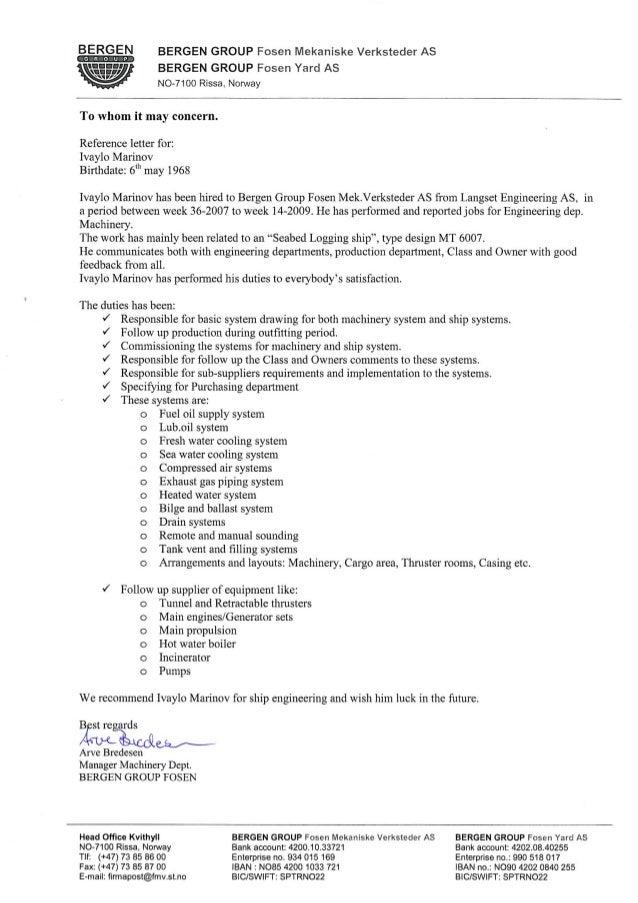 reference letter FMV