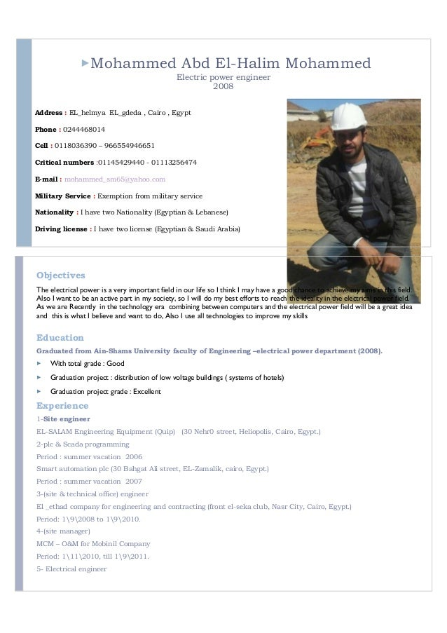 Mohammed Abd El-Halim Mohammed Electric power engineer 2008 Address : EL_helmya EL_gdeda , Cairo , Egypt Phone : 02444680...
