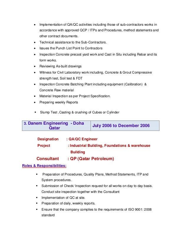 Civil qa qc inspector updated resume for Punch list procedure