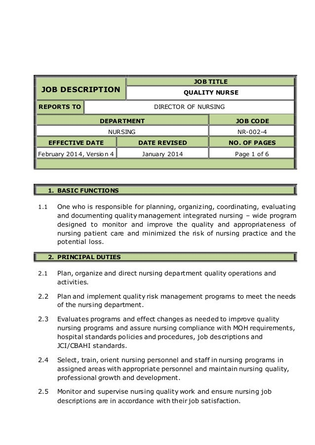job description job title quality nurse reports to director of nursing department job code nursing nr - Practice Director Job Description