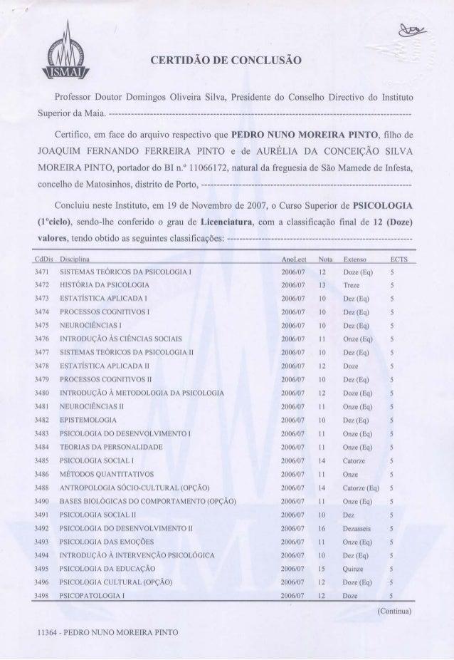 certificado de conclusão licenciatura