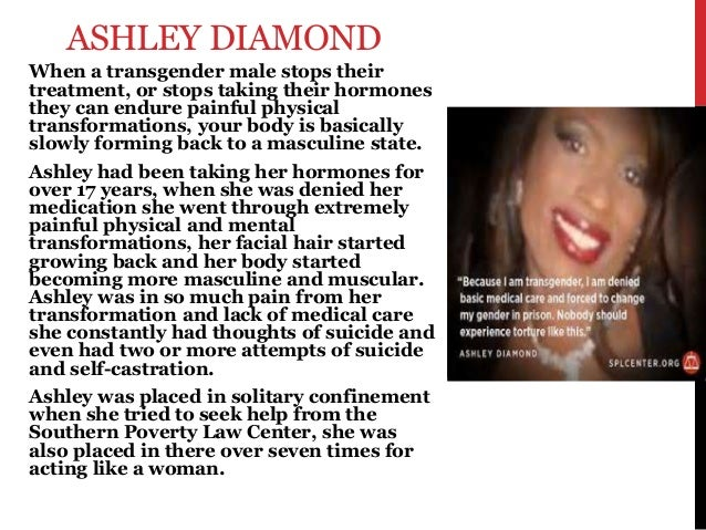 ASHLEY DIAMOND When a transgender male stops their treatment, or stops taking their hormones they can endure painful physi...