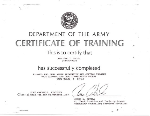Unit alcohol and drug coordinator course certificate 1993 for Army certificate of completion template